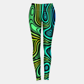 Thumbnail image of Abstract Color Wave Greens Leggings, Live Heroes