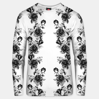 simple watercolor roses with tendrils seamless pattern black white on white Unisex sweater thumbnail image