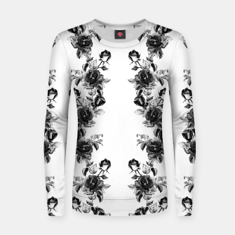 simple watercolor roses with tendrils seamless pattern black white on white Women sweater thumbnail image