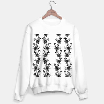 simple watercolor roses with tendrils seamless pattern black white on white Sweater regular thumbnail image