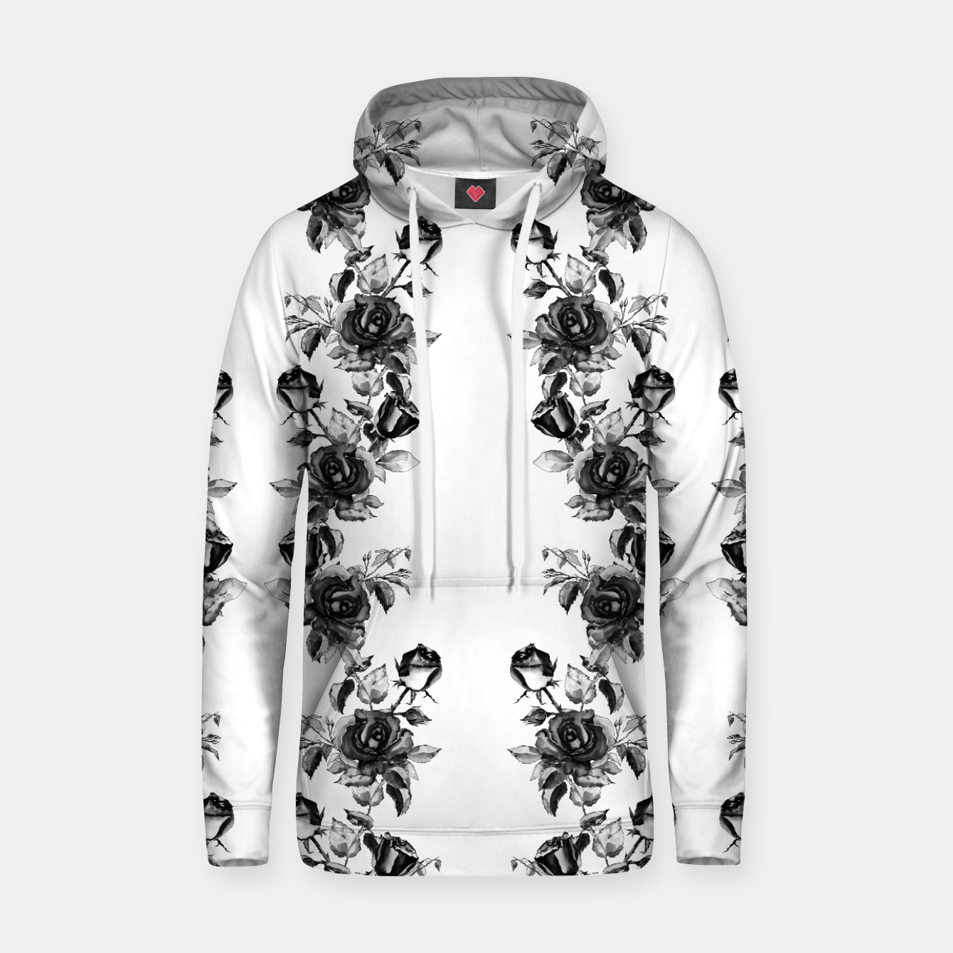 Image of simple watercolor roses with tendrils seamless pattern black white on white Hoodie - Live Heroes