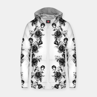 simple watercolor roses with tendrils seamless pattern black white on white Zip up hoodie thumbnail image