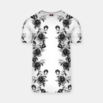 simple watercolor roses with tendrils seamless pattern black white on white T-shirt thumbnail image
