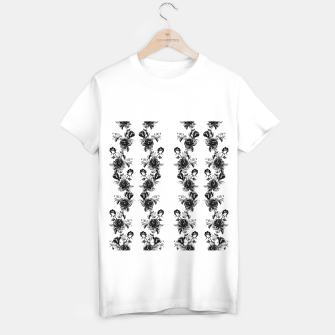 simple watercolor roses with tendrils seamless pattern black white on white T-shirt regular thumbnail image