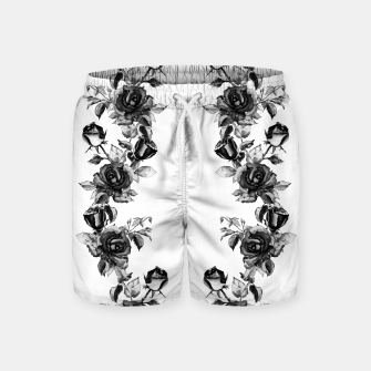 simple watercolor roses with tendrils seamless pattern black white on white Swim Shorts thumbnail image