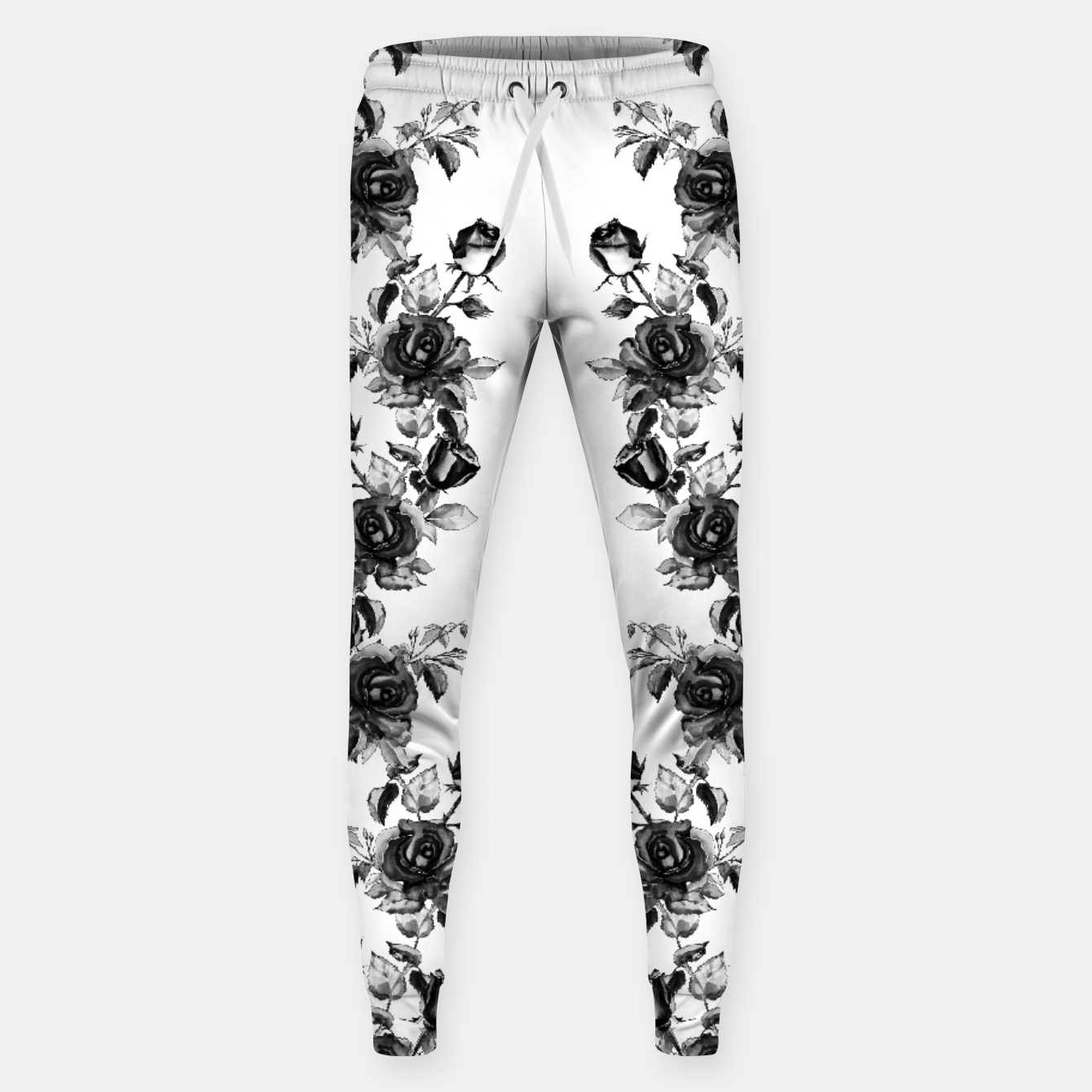 Image of simple watercolor roses with tendrils seamless pattern black white on white Sweatpants - Live Heroes