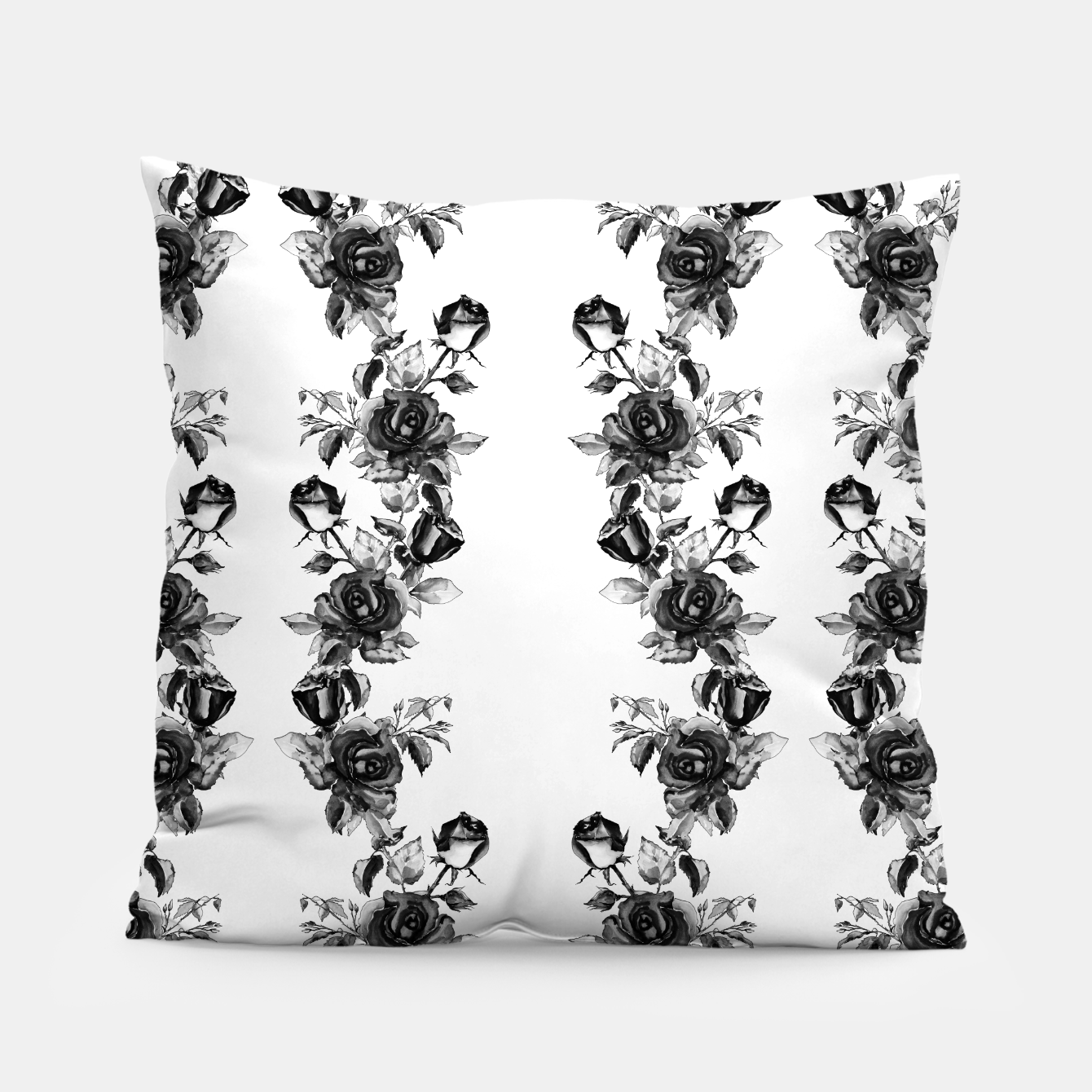Image of simple watercolor roses with tendrils seamless pattern black white on white Pillow - Live Heroes