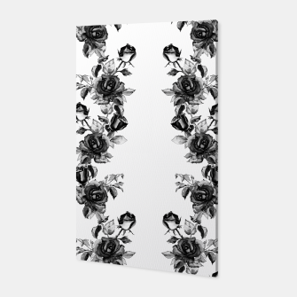 simple watercolor roses with tendrils seamless pattern black white on white Canvas thumbnail image