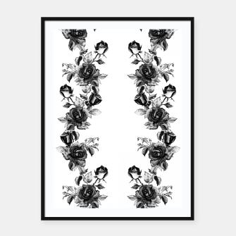 simple watercolor roses with tendrils seamless pattern black white on white Framed poster thumbnail image