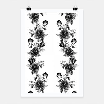 simple watercolor roses with tendrils seamless pattern black white on white Poster thumbnail image