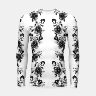 simple watercolor roses with tendrils seamless pattern black white on white Longsleeve rashguard  thumbnail image