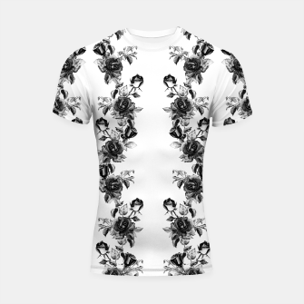 simple watercolor roses with tendrils seamless pattern black white on white Shortsleeve rashguard thumbnail image