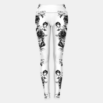 simple watercolor roses with tendrils seamless pattern black white on white Leggings thumbnail image