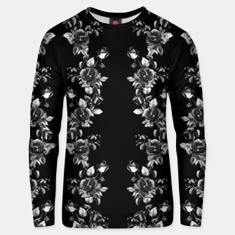 simple watercolor roses with tendrils seamless pattern black white on black Unisex sweater thumbnail image