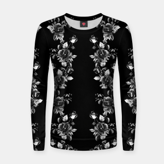 simple watercolor roses with tendrils seamless pattern black white on black Women sweater thumbnail image