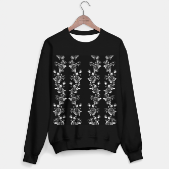 simple watercolor roses with tendrils seamless pattern black white on black Sweater regular thumbnail image
