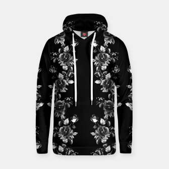 Thumbnail image of simple watercolor roses with tendrils seamless pattern black white on black Hoodie, Live Heroes