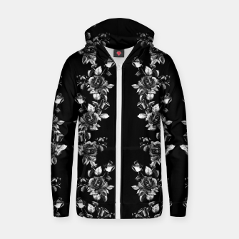 simple watercolor roses with tendrils seamless pattern black white on black Zip up hoodie thumbnail image