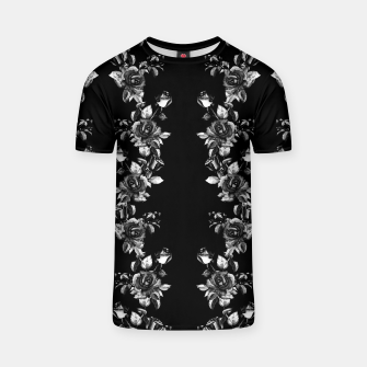 simple watercolor roses with tendrils seamless pattern black white on black T-shirt thumbnail image