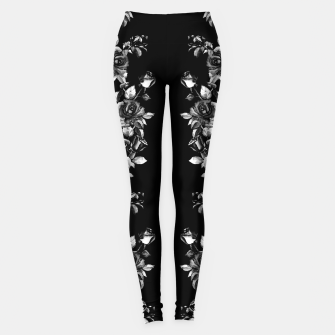 Miniaturka simple watercolor roses with tendrils seamless pattern black white on black Leggings, Live Heroes