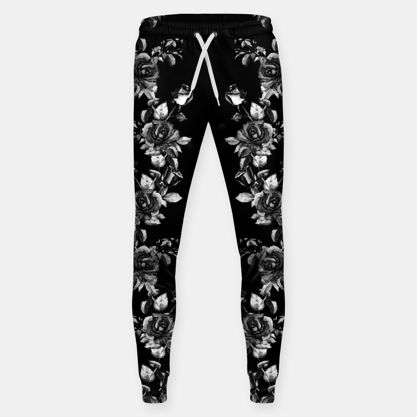 Image of simple watercolor roses with tendrils seamless pattern black white on black Sweatpants - Live Heroes