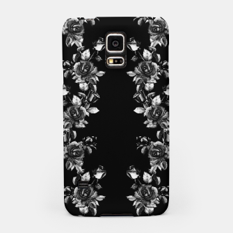 simple watercolor roses with tendrils seamless pattern black white on black Samsung Case thumbnail image