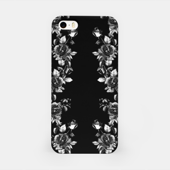 simple watercolor roses with tendrils seamless pattern black white on black iPhone Case thumbnail image