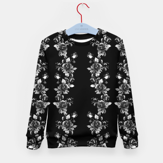 simple watercolor roses with tendrils seamless pattern black white on black Kid's sweater thumbnail image