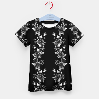 simple watercolor roses with tendrils seamless pattern black white on black Kid's t-shirt thumbnail image