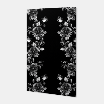 simple watercolor roses with tendrils seamless pattern black white on black Canvas thumbnail image