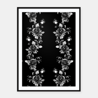 simple watercolor roses with tendrils seamless pattern black white on black Framed poster thumbnail image