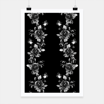 simple watercolor roses with tendrils seamless pattern black white on black Poster thumbnail image