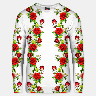 simple watercolor roses with tendrils seamless pattern on white Unisex sweater thumbnail image