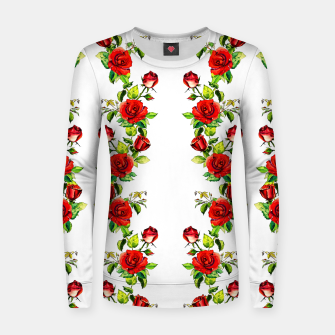 simple watercolor roses with tendrils seamless pattern on white Women sweater thumbnail image