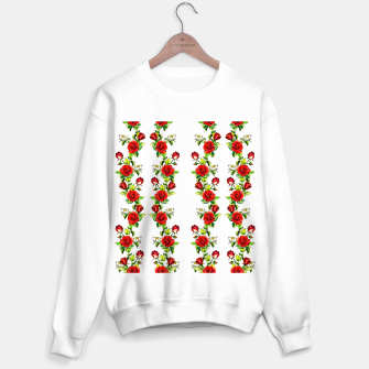 simple watercolor roses with tendrils seamless pattern on white Sweater regular thumbnail image