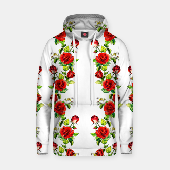 simple watercolor roses with tendrils seamless pattern on white Hoodie thumbnail image