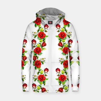 simple watercolor roses with tendrils seamless pattern on white Zip up hoodie thumbnail image