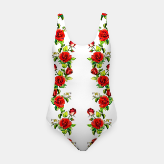 simple watercolor roses with tendrils seamless pattern on white Swimsuit thumbnail image
