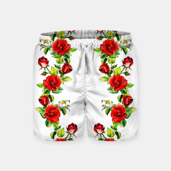 simple watercolor roses with tendrils seamless pattern on white Swim Shorts thumbnail image