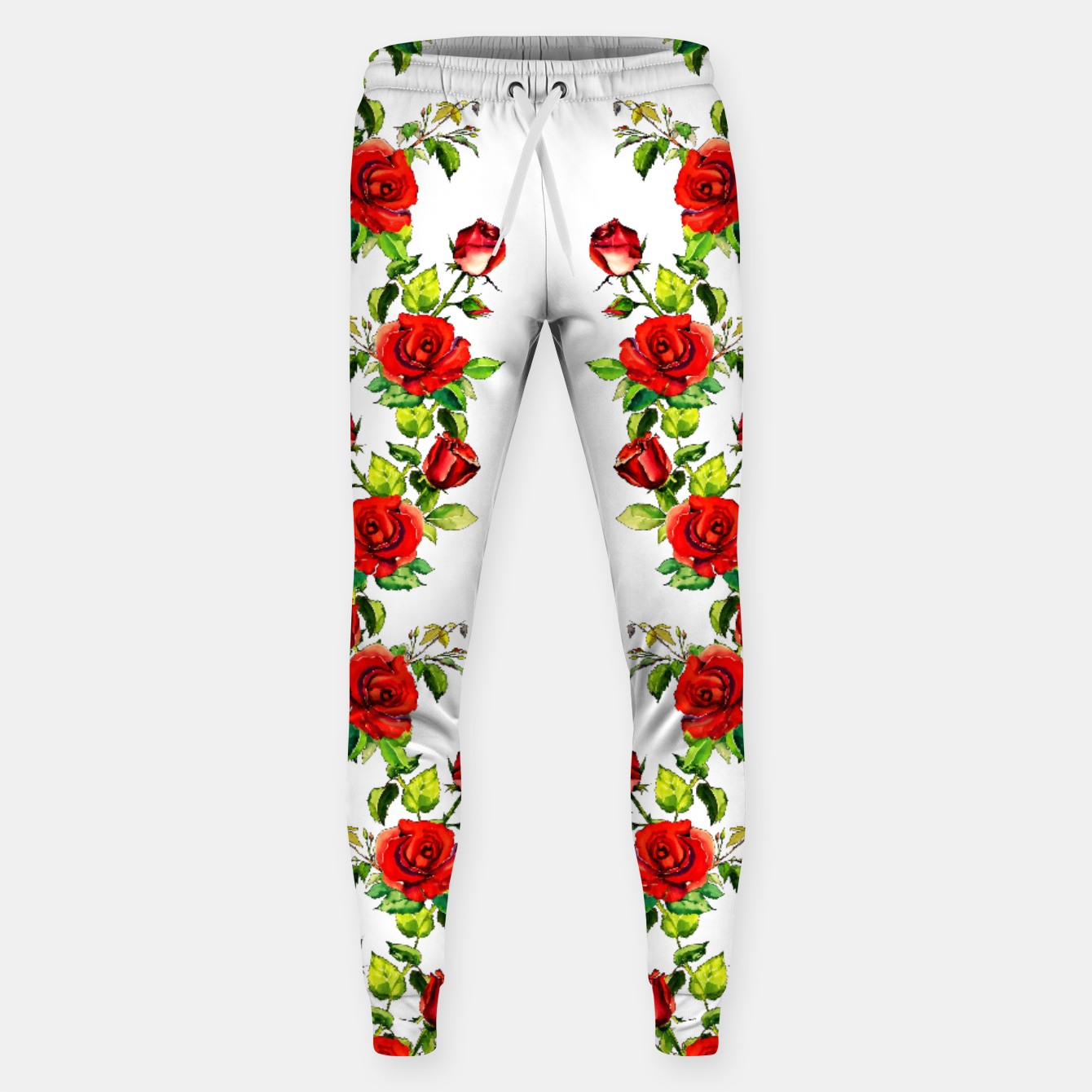 Image of simple watercolor roses with tendrils seamless pattern on white Sweatpants - Live Heroes
