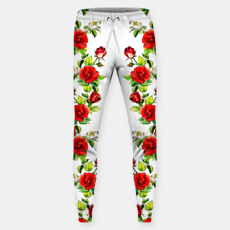 Thumbnail image of simple watercolor roses with tendrils seamless pattern on white Sweatpants, Live Heroes
