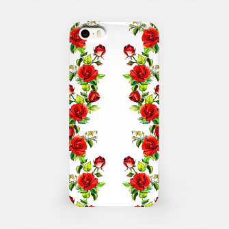 simple watercolor roses with tendrils seamless pattern on white iPhone Case thumbnail image