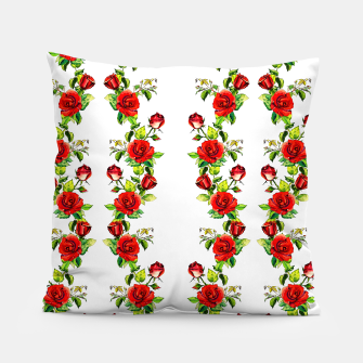simple watercolor roses with tendrils seamless pattern on white Pillow thumbnail image
