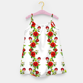 simple watercolor roses with tendrils seamless pattern on white Girl's dress thumbnail image