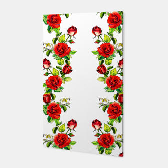 simple watercolor roses with tendrils seamless pattern on white Canvas thumbnail image