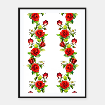simple watercolor roses with tendrils seamless pattern on white Framed poster thumbnail image