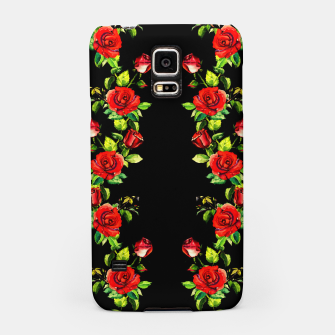 simple watercolor roses with tendrils seamless pattern on black Samsung Case thumbnail image