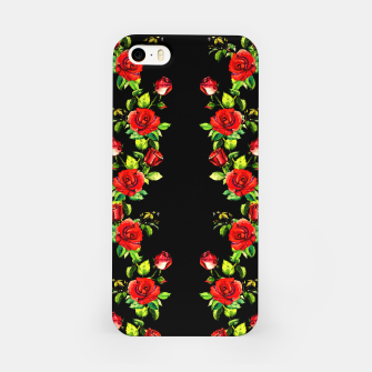 simple watercolor roses with tendrils seamless pattern on black iPhone Case thumbnail image