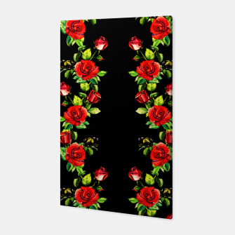 simple watercolor roses with tendrils seamless pattern on black Canvas thumbnail image