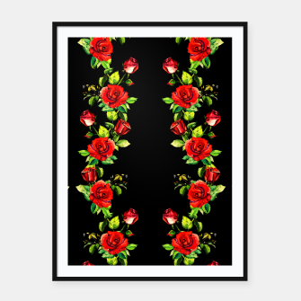 simple watercolor roses with tendrils seamless pattern on black Framed poster thumbnail image